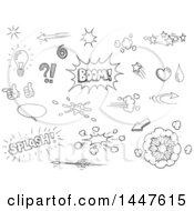 Clipart Of Sketched Black And White Comic Design Elements Royalty Free Vector Illustration
