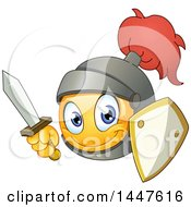 Clipart Of A Yellow Cartoon Emoji Emoticon Knight Smiley Face With A Sword And Shield Royalty Free Vector Illustration by yayayoyo