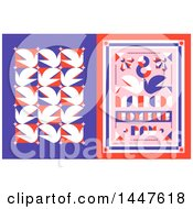 Clipart Of A Retro Styled 8th Of March International Womens Day Design With Red White And Purple Doves Royalty Free Vector Illustration by elena