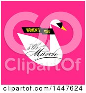 Clipart Of A Womens Day March 8th Swan Wearing Sunglasses Design On Pink Royalty Free Vector Illustration