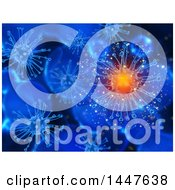 Clipart Of A Background Of 3d Virus Cells In Blue One Glowing Royalty Free Illustration