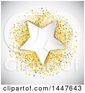 Clipart Of A Star On Gold Confetti With Shading Royalty Free Vector Illustration