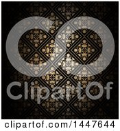 Clipart Of A Golden Diamond Floral Pattern On Black Royalty Free Vector Illustration