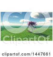 Clipart Of A 3d Blossoming Cherry Tree On A Hill In A Spring Landscape Royalty Free Illustration