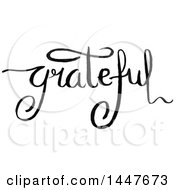 Clipart Of A Grayscale Handwritten Word Grateful Royalty Free Vector Illustration