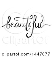 Clipart Of A Grayscale Handwritten Motivational Word Beautiful Royalty Free Vector Illustration