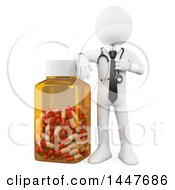 Poster, Art Print Of 3d White Man Doctor Or Pharmacist With A Giant Rx Pill Bottle On A White Background