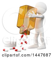 Clipart Of A 3d White Man Dumping Out A Giant Bottle Of Pills On A White Background Royalty Free Illustration by Texelart