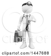 Poster, Art Print Of 3d White Man Doctor On A White Background