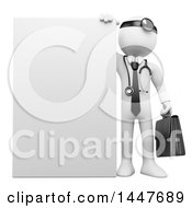 Poster, Art Print Of 3d White Man Doctor With A Blank Sign On A White Background