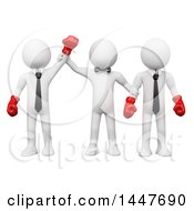 Clipart Of A 3d White Business Man Boxer Winning A Fight Against His Opponent On A White Background Royalty Free Illustration