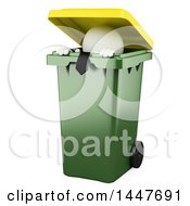 Clipart Of A 3d White Business Man Hiding In A Trash Can On A White Background Royalty Free Illustration