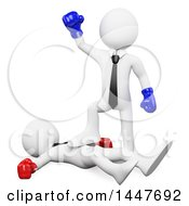Clipart Of A 3d White Business Man Boxer Cheering Over His Beaten Opponent On A White Background Royalty Free Illustration