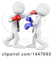 Clipart Of A 3d White Business Man Boxer Punching His Opponent On A White Background Royalty Free Illustration