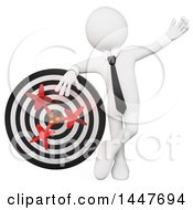 Clipart Of A 3d White Business Man Leaning On A Dart Board On A White Background Royalty Free Illustration