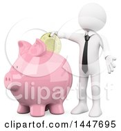 Poster, Art Print Of 3d White Business Man Putting A Coin In A Piggy Bank On A White Background