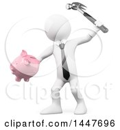 Poster, Art Print Of 3d White Business Man Breaking A Piggy Bank With A Hammer On A White Background