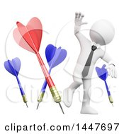 Clipart Of A 3d White Business Man Dodging Darts On A White Background Royalty Free Illustration