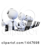 Clipart Of A 3d White Business Man Working In A Call Center Giving A Thumb Up And Using A Laptop On A White Background Royalty Free Illustration
