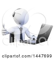 Clipart Of A 3d White Call Center Business Man Giving A Thumb Up And Using A Laptop On A White Background Royalty Free Illustration by Texelart