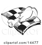 Tasty Chicken Drumstick On A Checkered Napkin Clipart Illustration