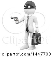 Clipart Of A 3d White Collar Criminal Business Man Aiming A Gun On A White Background Royalty Free Illustration
