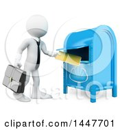 Clipart Of A 3d White Business Man Dropping A Folder In A Cloud Box On A White Background Royalty Free Illustration