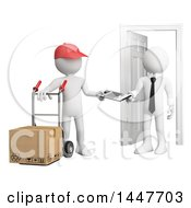 Clipart Of A 3d White Business Man Receiving A Delivery On A White Background Royalty Free Illustration by Texelart