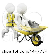 Clipart Of A 3d White Business Man Being Pushed In An Anti Crisis Wheelbarrow Taxi On A White Background Royalty Free Illustration