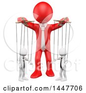 Clipart Of A 3d White Business Man Puppeteer Handling Employees Like Marionette Puppets On A White Background Royalty Free Illustration