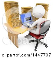 Clipart Of A 3d White Business Man Working On A Laptop At A Desk Piled High With Folders On A White Background Royalty Free Illustration