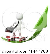 Clipart Of A 3d White Business Man Skateboarding On A Growth Arrow On A White Background Royalty Free Illustration