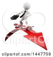 Clipart Of A 3d White Business Man Skateboarding On A Decline Arrow On A White Background Royalty Free Illustration