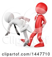Clipart Of A 3d Red Business Man Tripping Up An Employee On A White Background Royalty Free Illustration