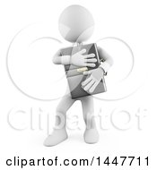 Clipart Of A 3d White Business Man Hugging And Protecting His Briefcase On A White Background Royalty Free Illustration