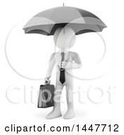 Clipart Of A 3d White Business Man Carrying A Briefcase And An Umbrella On A White Background Royalty Free Illustration