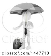 Clipart Of A 3d White Business Man Carrying A Briefcase And An Umbrella And Reaching Out With A Hand On A White Background Royalty Free Illustration