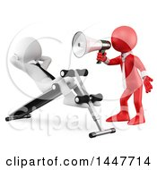 Clipart Of A 3d Red Business Man Shouting With A Megaphone At A White Man Doing Situps On A Bench On A White Background Royalty Free Illustration