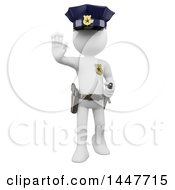 Clipart Of A 3d White Police Officer Man Gesturing To Stop On A White Background Royalty Free Illustration