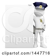 Clipart Of A 3d White Police Officer Man By A Blank Sign On A White Background Royalty Free Illustration