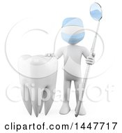 Clipart Of A 3d White Man Dentist With A Dental Mirror Tool And A Tooth On A White Background Royalty Free Illustration