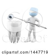 Clipart Of A 3d White Man Dentist Holding A Mirror Tool Over A Tooth On A White Background Royalty Free Illustration