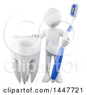 Clipart Of A 3d White Man Dentist With A Giant Tooth And Brush On A White Background Royalty Free Illustration by Texelart