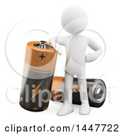 Clipart Of A 3d White Man Leaning On A Giant Battery On A White Background Royalty Free Illustration by Texelart