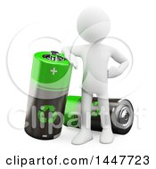 Clipart Of A 3d White Man Leaning On A Giant Recyclable Battery On A White Background Royalty Free Illustration by Texelart