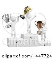 Clipart Of A 3d White Man Cheering And Holding A Gold Trophy Cup While Opponents Hold Bronze And Silver On A Podium On A White Background Royalty Free Illustration