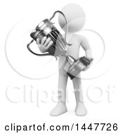 Clipart Of A 3d White Man Holding A Silver Trophy Cup On A White Background Royalty Free Illustration