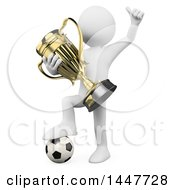 Poster, Art Print Of 3d White Man Cheering And Holding A Gold Trophy Cup While Resting A Foot On A Soccer Ball On A White Background