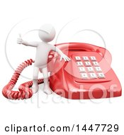 Clipart Of A 3d White Man Giving A Thumb Up By A Giant Landline Telephone On A White Background Royalty Free Illustration