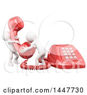 Poster, Art Print Of 3d Giant Red Landline Telephone And Two White People Answering A Call On A White Background